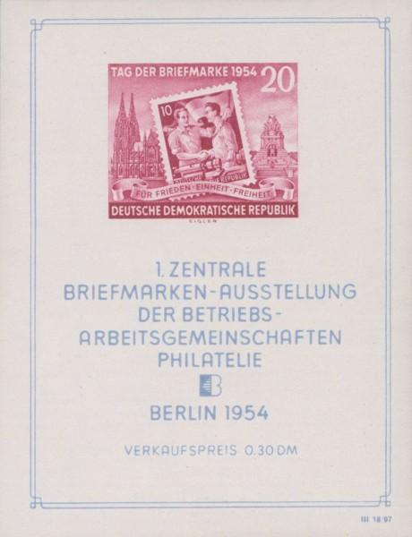 DDR Bl.10 XI ** gepr. MiNr. 445B Block Tag der Briefmarke 1954