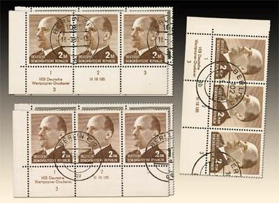DDR MiNr. 968/69, 1087/88 und 1481/82 o Ulbricht-Großformat - 3er-Streifen mit DV