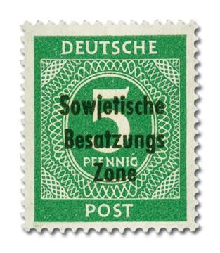 SBZ Allg.A. MiNr. 207b ** mit Bdr.-aufdruck Ziffernserie 5 Pf., (gelblichgrün) - geprüft