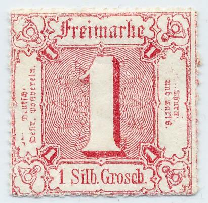 Thurn & Taxis MiNr. 38 ** 1 Gr., karminrot, durchstochen