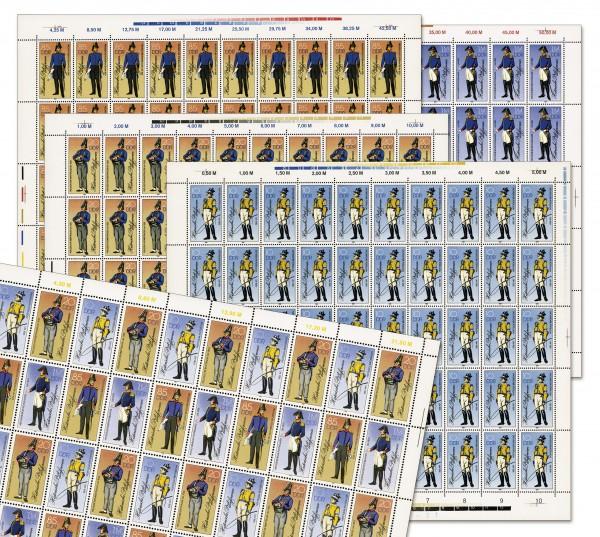 DDR Bogenkollektion MiNr. 2997/00 ** Hist. Postuniformen, 5 Bogen inkl. Sammelblätter