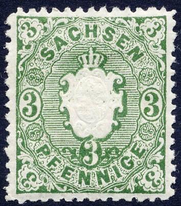Sachsen MiNr. 14a * 3 Pfennige / dunkelgrün