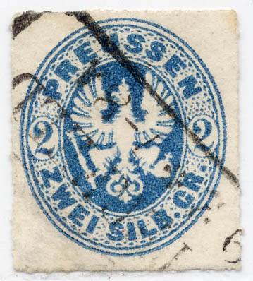 Preußen MiNr. 17b o 2 Sgr preußischblau / durchst.