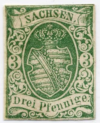 Sachsen MiNr. 2IIa * 3 Pfennige / dunkelgrün/ II. Auflage