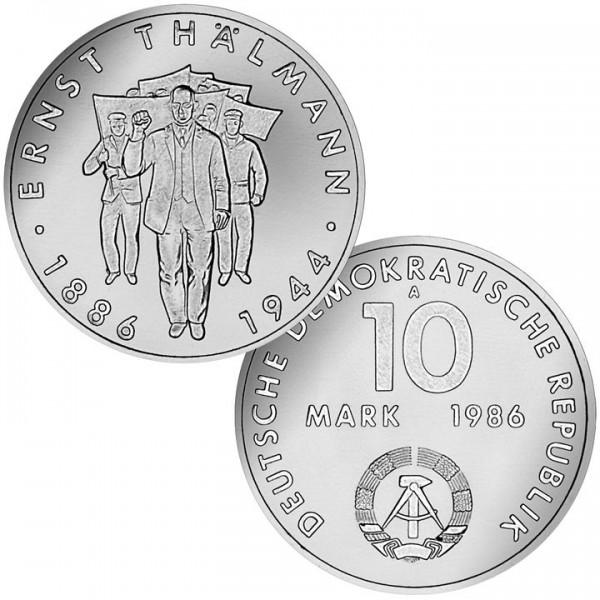 DDR Münze 1986, 10 M, st 100. Geburtstag Ernst Thälmann