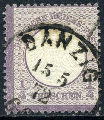 Dt. Reich MiNr. 1 o, 1/4 Gr Adler mit kleinem Brustschild, Talerwährung