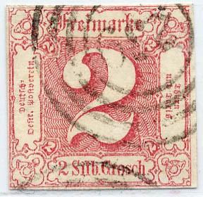 Thurn & Taxis MiNr. 16 o 2 Gr., karminrot, geschnitten