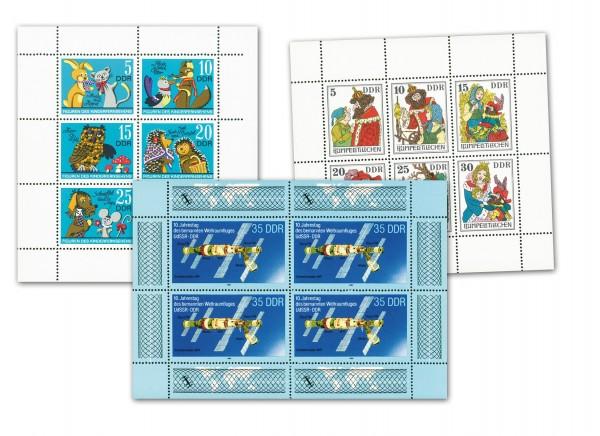 DDR 3 Kleinbogen der mit Plattenfehler ** Mi-Nr. 1807/12, 2187/92 und 3192
