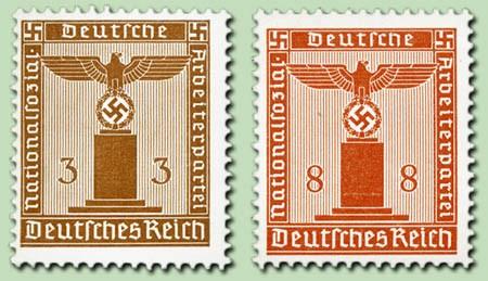 Dt. Reich Dienst MiNr. D 156y und D 160 y ** - 2 Dienstmarken - waagerecht geriffelter Gummi