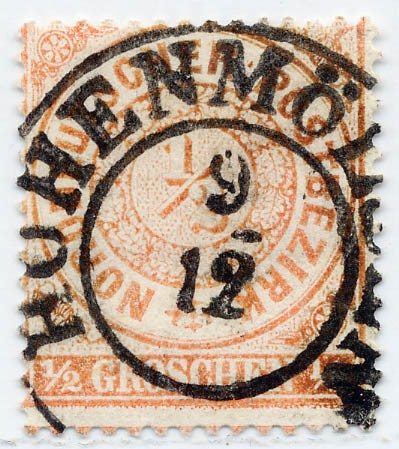 Norddeutscher Postbezirk MiNr. 15 o 1/2 Groschen / mittelorange