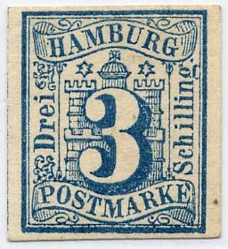 Hamburg MiNr. 4 (*) 3 Schilling / preußischblau