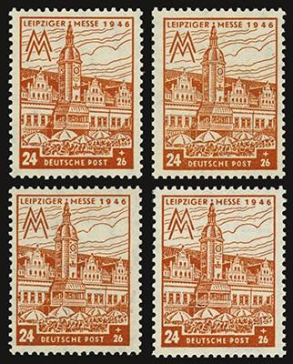 SBZ West-Sa. MiNr. 164I-III+V ** Plattenfehler-Set 24+26Pf Leipz. Messe