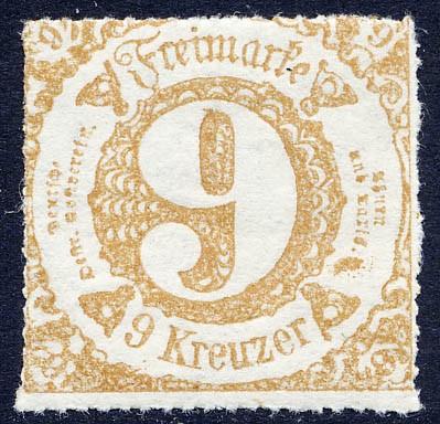 Thurn & Taxis MiNr. 44II ** 9 Kr., ockerbraun, durchstochen