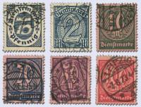 Dt. Reich Dienst MiNr. 69/74 o gepr. Dienstmarken Wertziffern