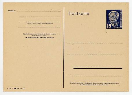 DDR Ganzsache P 48/02 * 12Pf Wilhelm Pieck (M 301 4 500 000 XI.50)
