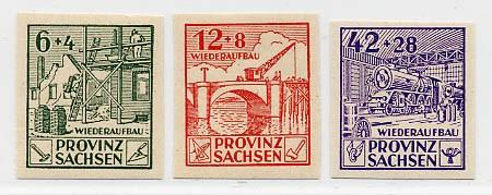 SBZ Prov.Sa. MiNr. 87/89B ** geschn. Wiederaufbau