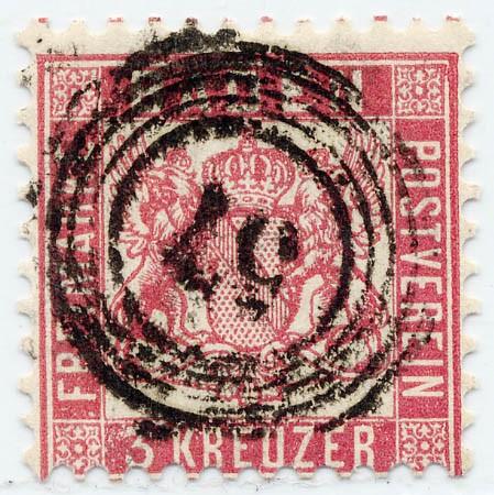 Baden MiNr. 18 o 3 Kreuzer / karminrot / Wappen-gez.