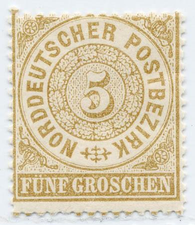 Norddeutscher Postbezirk MiNr. 18 * 5 Groschen / olivbraun
