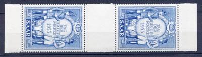 Saarland MiNr. 342 ** ZS-Paar Tag der Briefmarke 1953