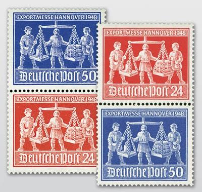 All.Bes.GA MiNr. 969/70 ** 2 Zdr.-Paare senkrecht Exportmesse Hannover 1948