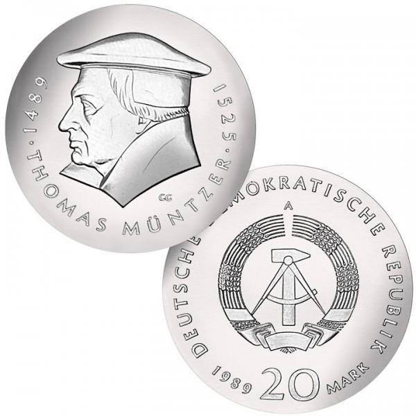 DDR Münze 1989, 20 M, PP 500. Geburtstag Thomas Müntzer