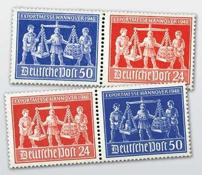 All.Bes.GA MiNr. 969/70 ** 2 Zdr.-Set waagerecht Exportmesse Hannover 1948