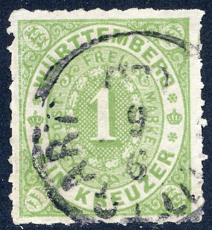 Württemberg MiNr. 36a o 1 Kreuzer, gelbgrün, DS
