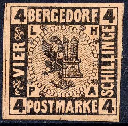 Bergedorf MiNr. 5 * 4 Schilling / braunorange