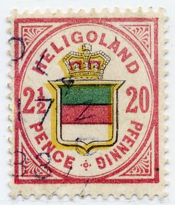 Helgoland MiNr. 18c o 20Pf/2 1/2 P h'rosalila/graugelb/graugrü