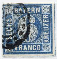 Bayern MiNr. 10a o 6 Kreuzer / grauultramarin