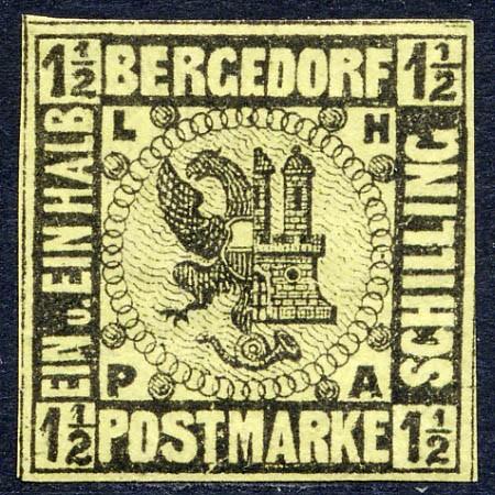 Bergedorf MiNr. 3 * 11/2 Schilling / hellolivgelb