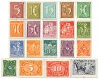 Dt. Reich MiNr. 158/76 ** Wz. Rauten FM: Ziffern, Arbeiter, Posthorn, 19 Werte