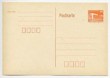 DDR Ganzsache P 86 I * 10 Pf. Bauwerke mit Postleitzahlf.Wz.orange
