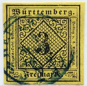 Württemberg MiNr. 2d o 3 Kreuzer, rötlichgelb