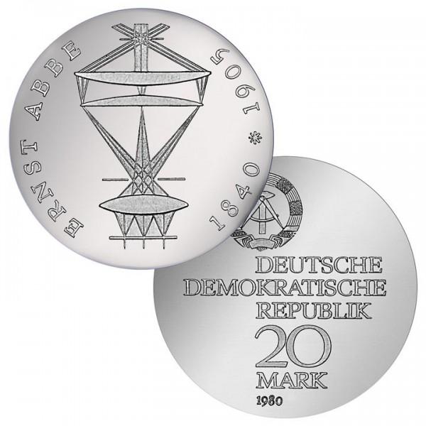 DDR Münze 1980, 20 M, PP 75. Todestag Ernst Abbe