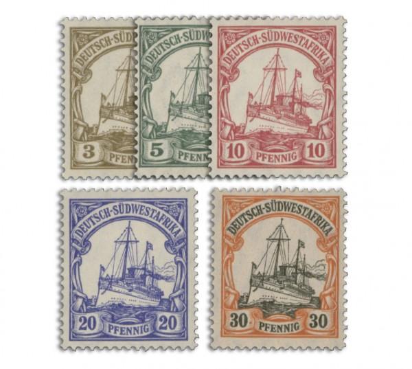 Dt. Kolonien Südwestafrika MiNr. 24/28 ** Kurzsatz, 5 Werte mit Wz.1