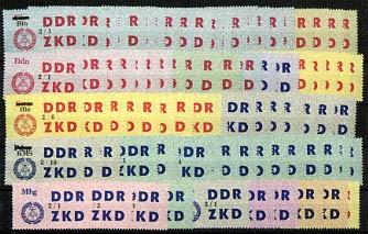 DDR Dienstmarken C MiNr. 46-60 ** Laufkontrollzettel für VVB (84 Werte)