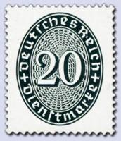 Dt. Reich Dienst MiNr. 119 Y ** gepr. Dienstmarken Ziffernzeichnung