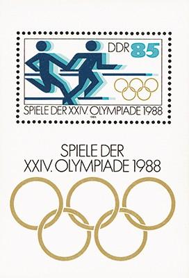 DDR Bl.94 ** MiNr. 3189 mit PF und Vergleichsst. Olympische Sommerspiele Seoul 1988