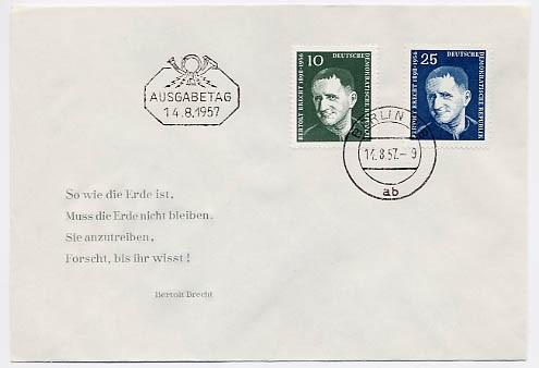 DDR FDC MiNr. 593/94 Bertolt Brecht
