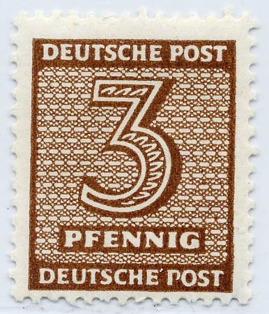 SBZ West-Sa. MiNr. 126 X wb ** gepr. 3 Pf Freimarke Ziffern