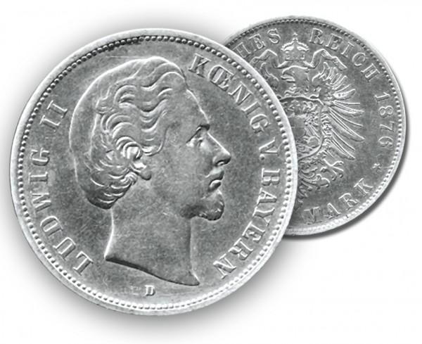 Bayern Münze 1876, 2 M, s/ss Ludwig II.