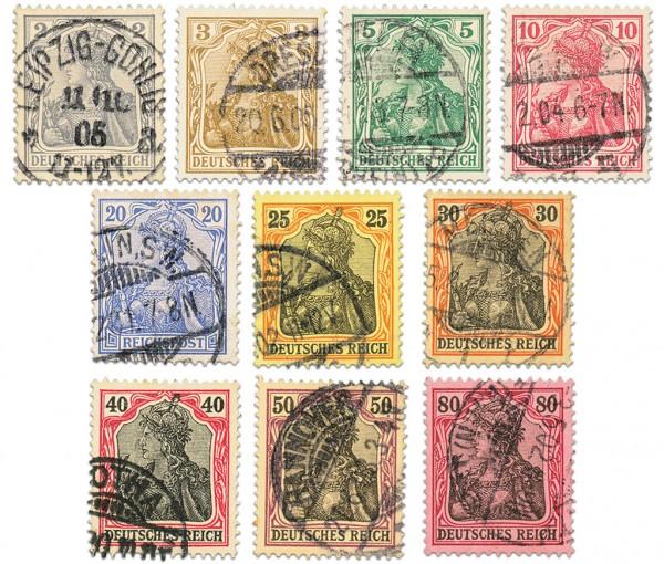 """Dt. Reich MiNr. 68/77 o Germania (II) Inschrift """"Dt. REICH"""""""