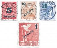 Berlin MiNr. 64/67 o Freimarken Grünaufdruck