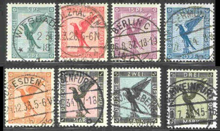 Dt. Reich MiNr. 378/84 o Flugpostmarken: Adler - 8 Werte