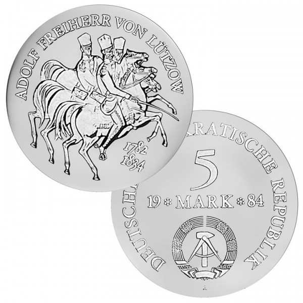 DDR Münze 1984, 5 M, st 150. Todestag Freiherr v. Lützow