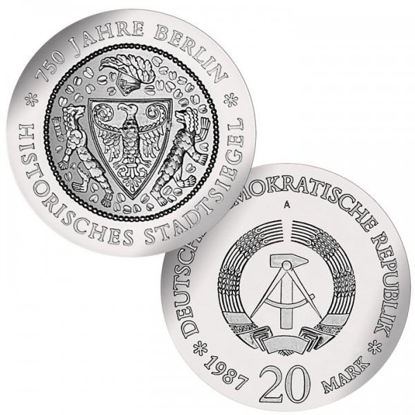 DDR Münze 1987, 20 M, st 750 Jahre Berlin Hist. Stadtsiegel