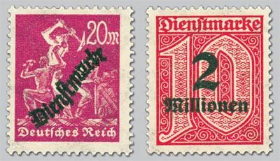 Dt. Reich Dienst MiNr. 75 Y + 97 Y ** m. Aufdr. Dienstmarken mit Aufdruck