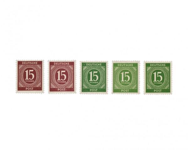 "All.Bes.GA MiNr. 921a,b + 922a,b,c ** Farben-Set ""Ziffern"", b und c farbsign."