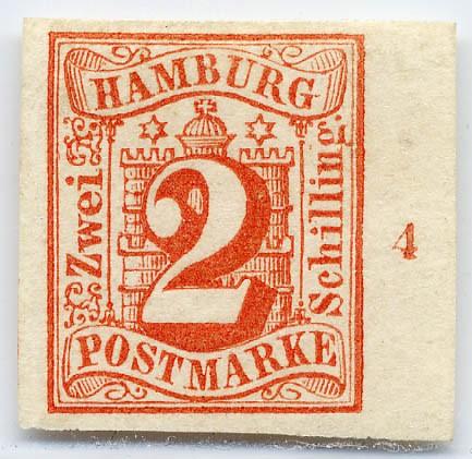 Hamburg MiNr. 3 (*) 2 Schilling / rot